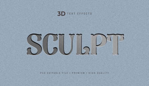 Modelo de efeito de texto 3d para escultura Psd Premium