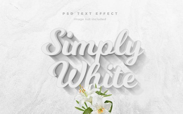 Modelo de efeito de texto 3d simplesmente branco Psd Premium