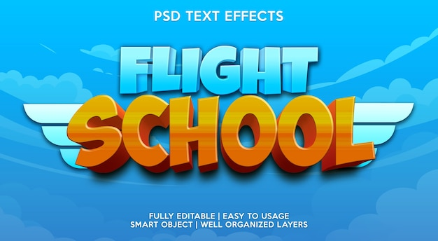 Modelo de efeito de texto da escola de voo Psd Premium