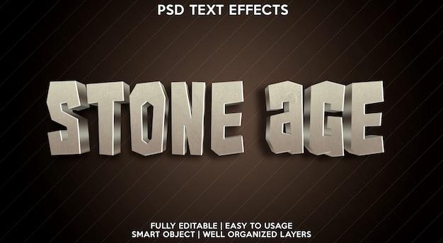 Modelo de efeito de texto da idade da pedra Psd Premium