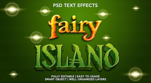 Modelo de efeito de texto da ilha das fadas Psd Premium