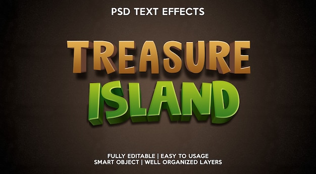 Modelo de efeito de texto da ilha do tesouro Psd Premium