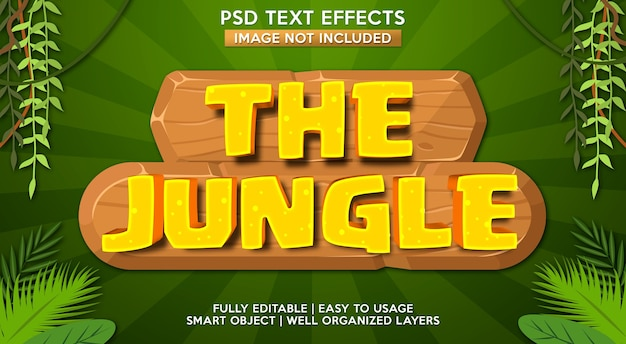 Modelo de efeito de texto da selva Psd Premium