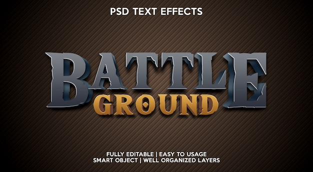 Modelo de efeito de texto de battle ground Psd Premium