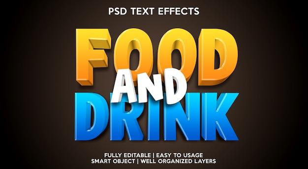 Modelo de efeito de texto de comida e bebida Psd Premium