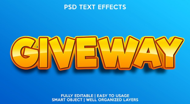 Modelo de efeito de texto de entrega Psd Premium