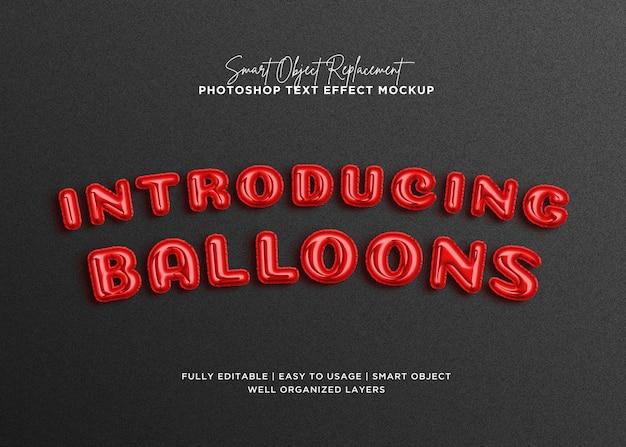 Modelo de efeito de texto de estilo balão 3d Psd Premium