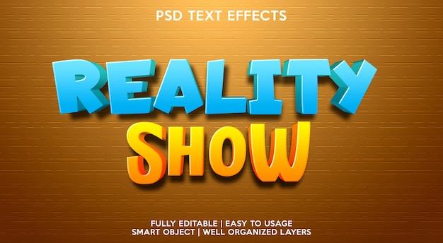 Modelo de efeito de texto de reality show Psd Premium