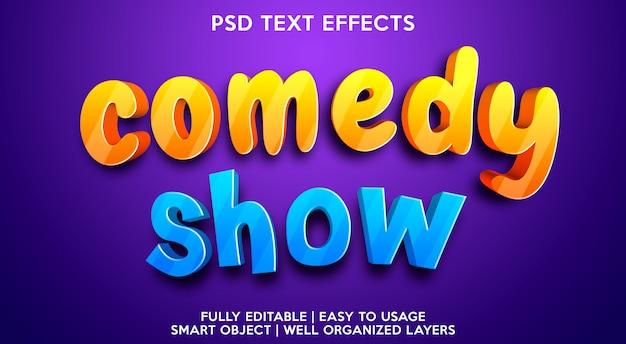 Modelo de efeito de texto de show de comédia Psd Premium
