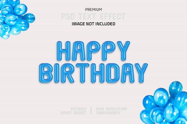 Modelo de efeito de texto editável feliz aniversário Psd Premium