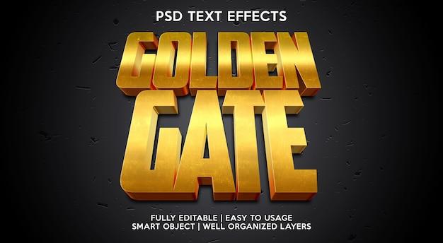 Modelo de efeito de texto golden gate Psd Premium