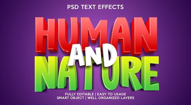 Modelo de efeito de texto humano e natural Psd Premium