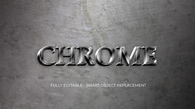 Modelo de estilo de texto de metal cromado Psd Premium