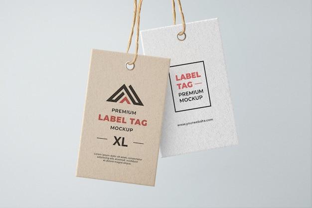 Modelo de etiqueta de etiqueta suspensa marrom e branco texturizado Psd Premium