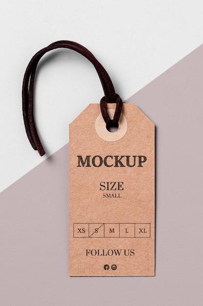 Modelo de etiqueta de tamanho de roupa com fio preto Psd grátis