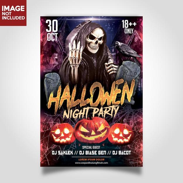 Modelo de festa de noite do dia das bruxas panfletos Psd Premium