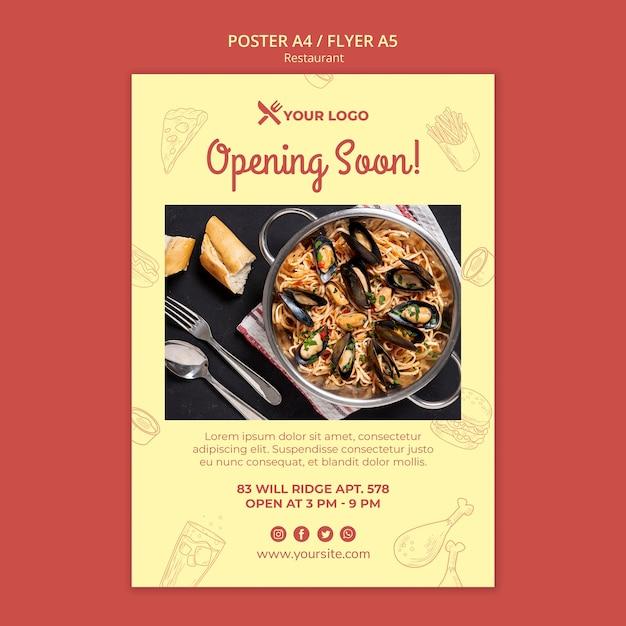 Modelo de folheto - abrindo em breve restaurante Psd grátis
