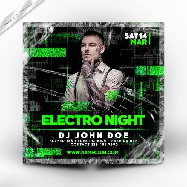 Modelo de folheto - cartaz de electro noite festa Psd Premium
