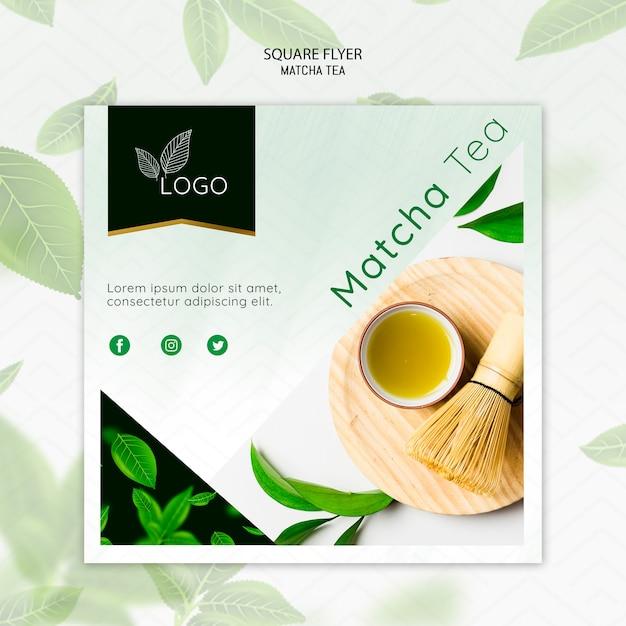 Modelo de folheto - chá matcha com batedor de bambu Psd grátis
