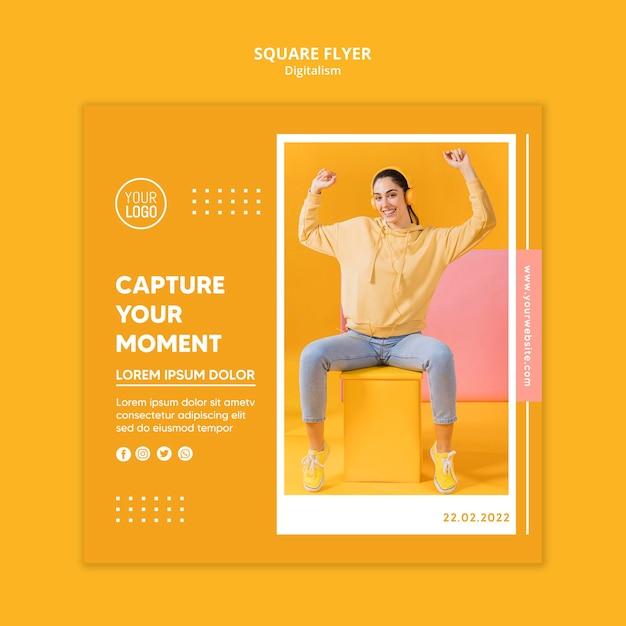 Modelo de folheto colorido digitalismo com foto Psd grátis
