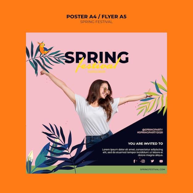 Modelo de folheto colorido primavera Psd grátis