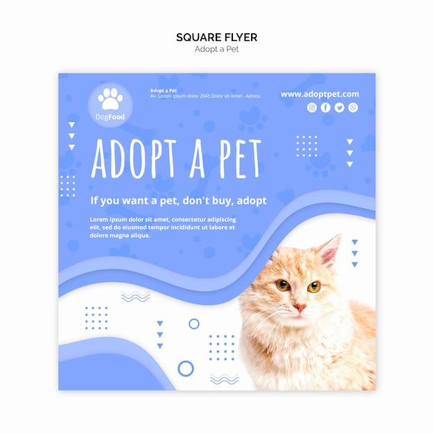 Modelo de folheto com adotar animal de estimação Psd grátis