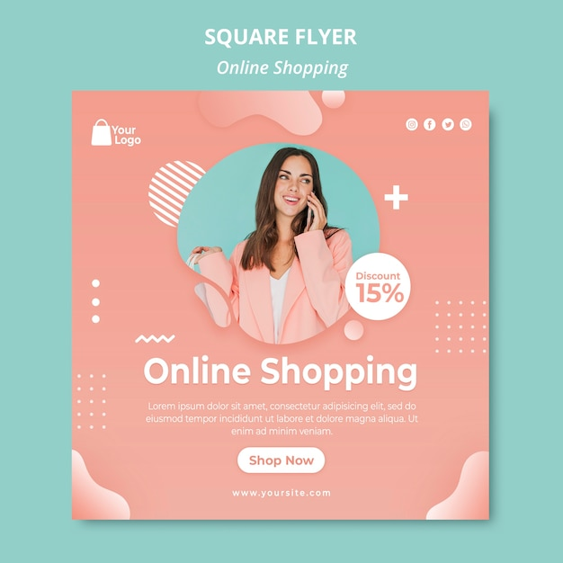 Modelo de folheto com compras on-line Psd grátis