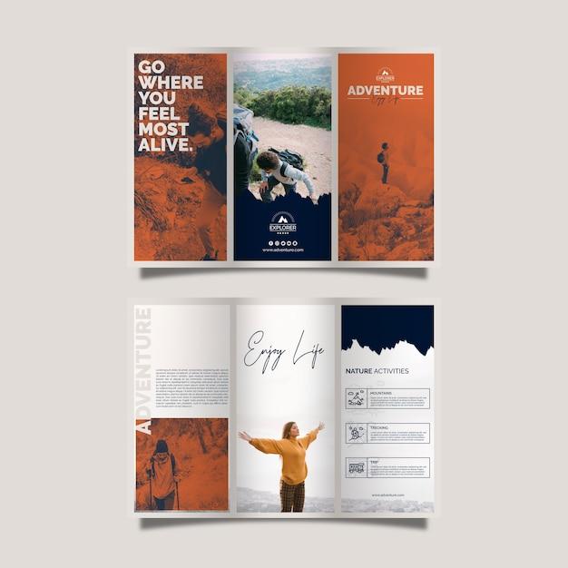 Modelo de folheto com conceito de aventura Psd grátis
