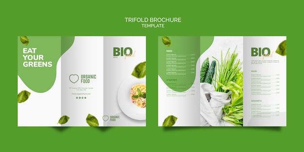 Modelo de folheto com três dobras de comida bio Psd grátis