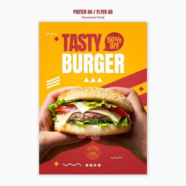 Modelo de folheto - comida americana cheeseburger saboroso Psd grátis