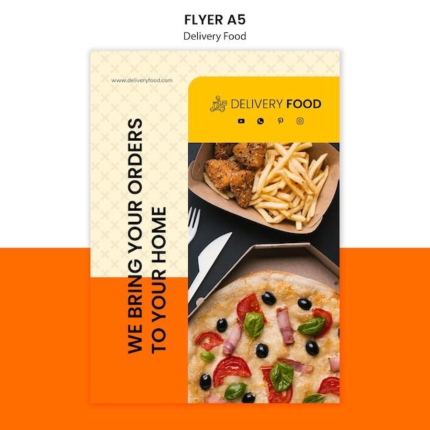 Modelo de folheto - comida de entrega Psd Premium