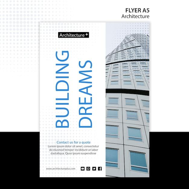Modelo de folheto - conceito de arquitetura Psd grátis