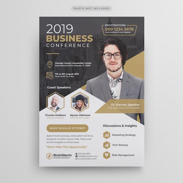 Modelo de folheto - conferência de negócios Psd Premium