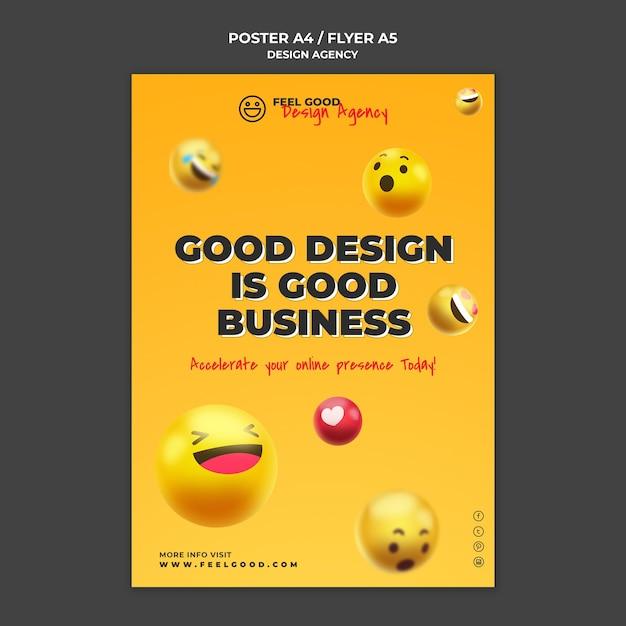 Modelo de folheto de agência de design Psd grátis