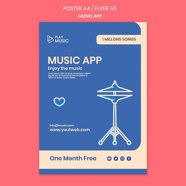 Modelo de folheto de aplicativo de música Psd grátis