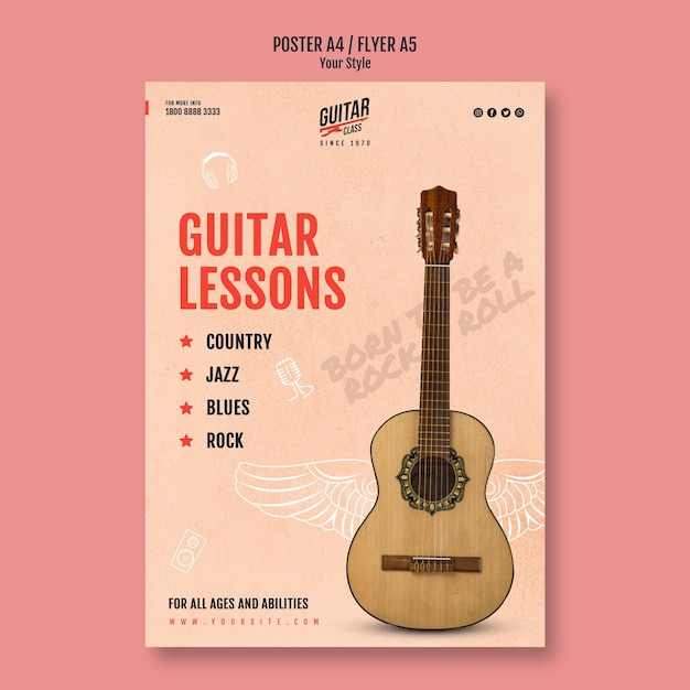 Modelo de folheto de aulas de guitarra Psd grátis