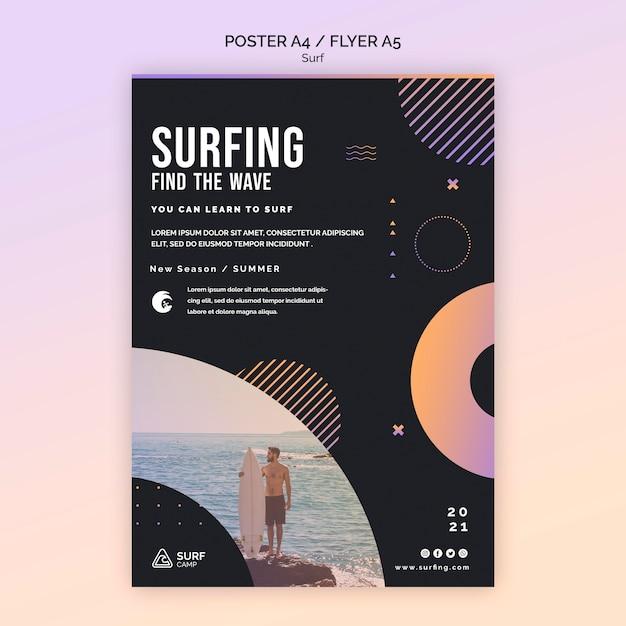 Modelo de folheto de aulas de surf Psd grátis