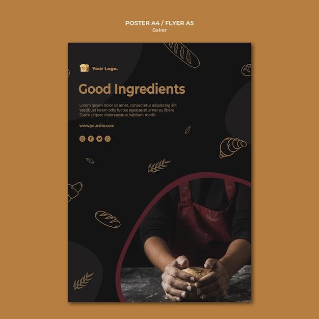 Modelo de folheto de bons ingredientes para padeiro Psd grátis