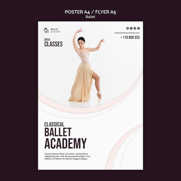 Modelo de folheto de conceito de balé Psd grátis
