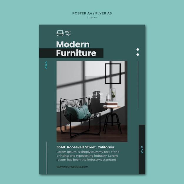 Modelo de folheto de conceito de móveis Psd grátis