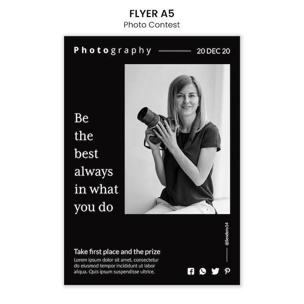 Modelo de folheto de concurso de fotos Psd grátis