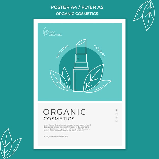 Modelo de folheto de cosméticos orgânicos Psd grátis