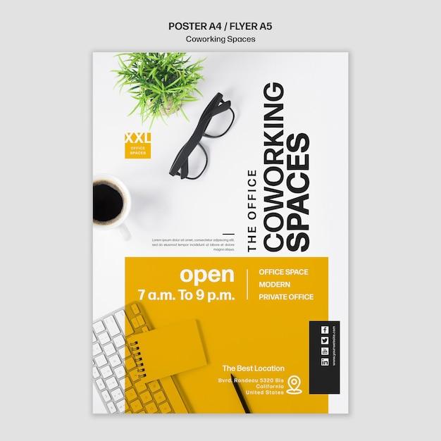 Modelo de folheto de coworking para escritório Psd grátis