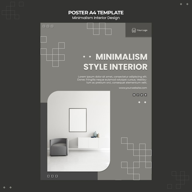 Modelo de folheto de design de interiores minimalista Psd grátis