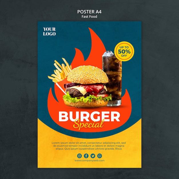 Modelo de folheto de fast food Psd grátis