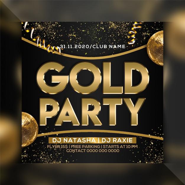 Modelo de folheto de festa dourada Psd Premium
