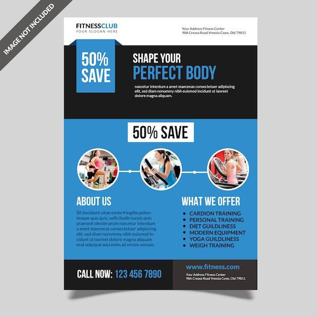 Modelo de folheto de ginásio de fitness moderno Psd Premium