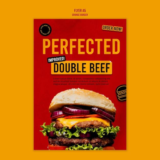 Modelo de folheto de hambúrguer grunge Psd Premium