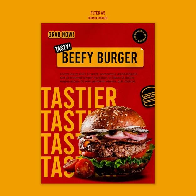 Modelo de folheto de hambúrguer grunge Psd grátis