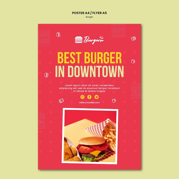 Modelo de folheto de hambúrguer restaurante Psd grátis